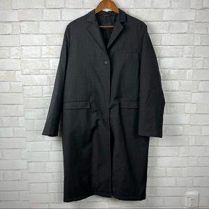 Prada Mens car coat trench hidden Velcro clousure charcoal grey classic jacket